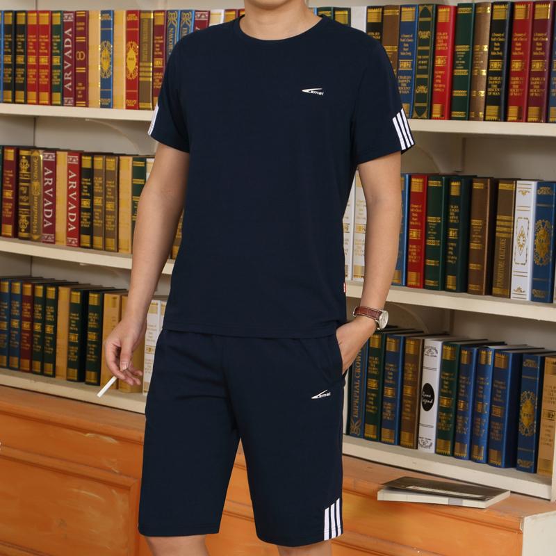 中年夏季男士纯棉加大码运动服套装中老年夏款短袖短裤休闲运动装