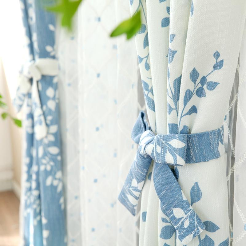 [吉屋]蓝叶 韩式清新蓝白树叶组合仿麻窗帘 客厅阳台窗帘定制