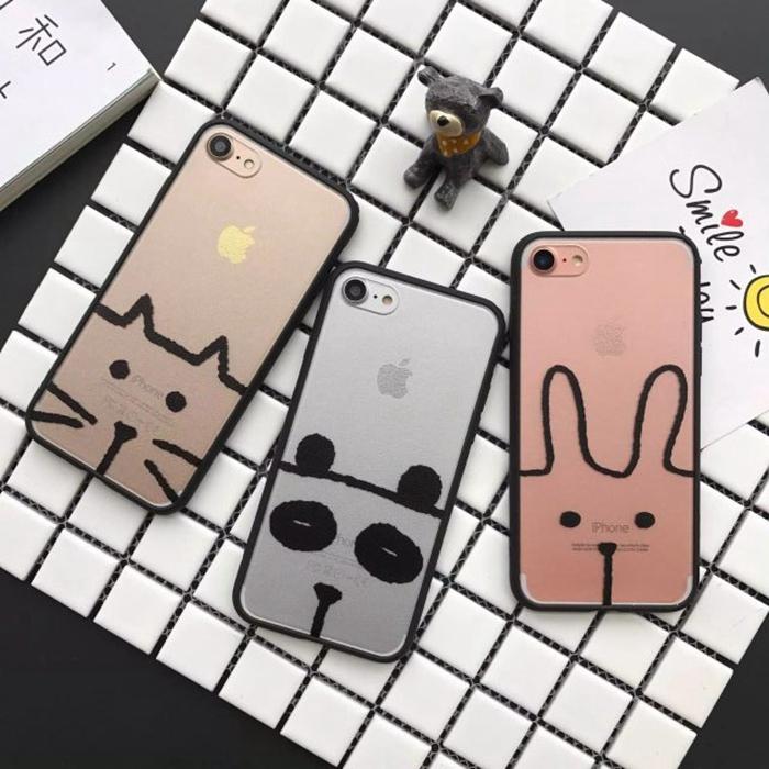 趣味卡通简笔画iphone7手机壳苹果6s猫咪兔子保护套5se蚕丝纹外壳
