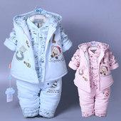 反季清仓3男女宝宝6个月9秋冬装0冬季婴儿童薄棉衣服1岁2三件套装