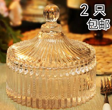欧式带盖条纹水晶玻璃糖果罐干果盘创意点心装饰器皿