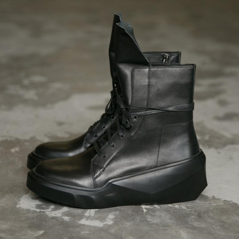 2017热卖秋冬新款靴子中筒男靴男牛皮鞋男鞋系带靴流行