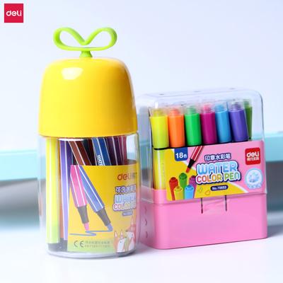 得力儿童无毒可水洗水彩笔12/24色套装幼儿园涂色小学生粗头文具