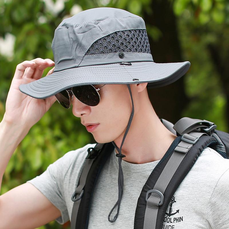 遮阳帽男士帽子凉帽户外夏天牛仔渔夫帽太阳帽草帽钓鱼帽防晒帽男