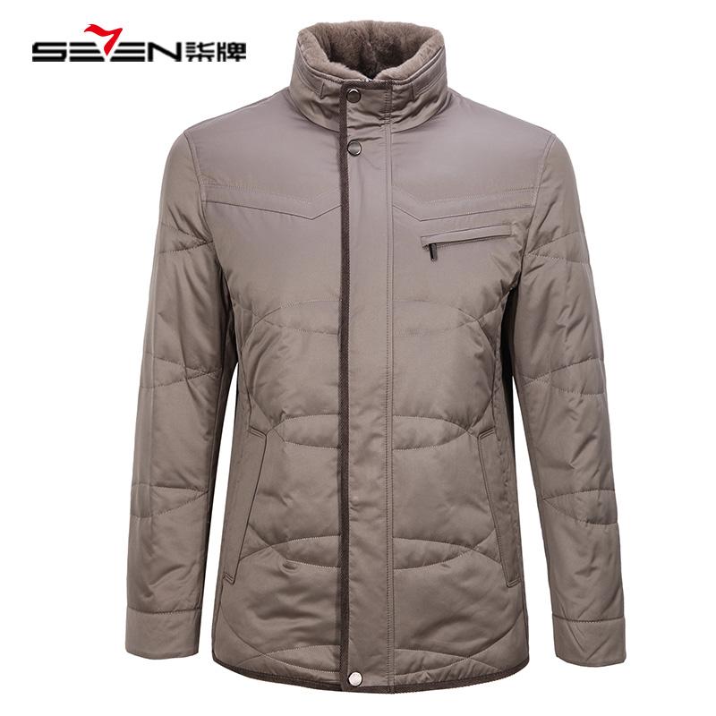 男士鸭绒冬季外套獭兔保暖 羽绒服男装
