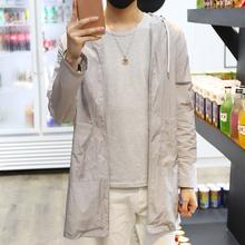 夏季男装夹克中长款风衣外套青年宽松休闲运动韩版潮流薄防晒衣服