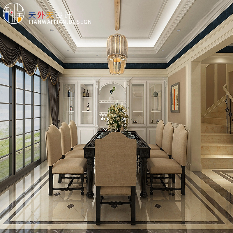 高端室内家装装修设计师 现代简约北欧美式客餐厅施工效果图服务