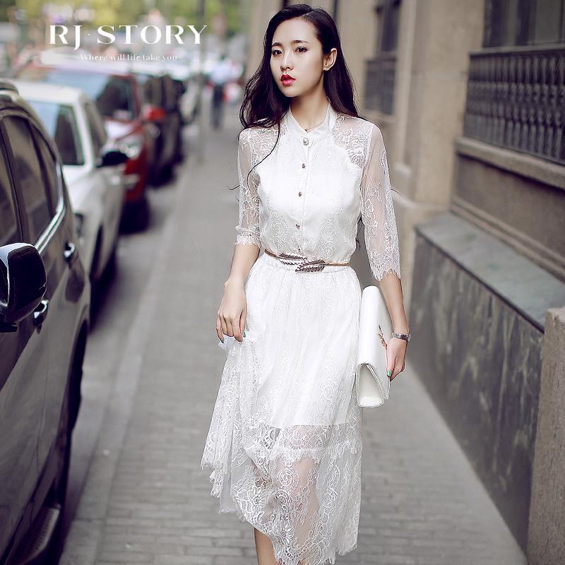 2017夏季新款韩版时尚性感蕾丝白色连衣裙女装仙显瘦礼服长裙子春