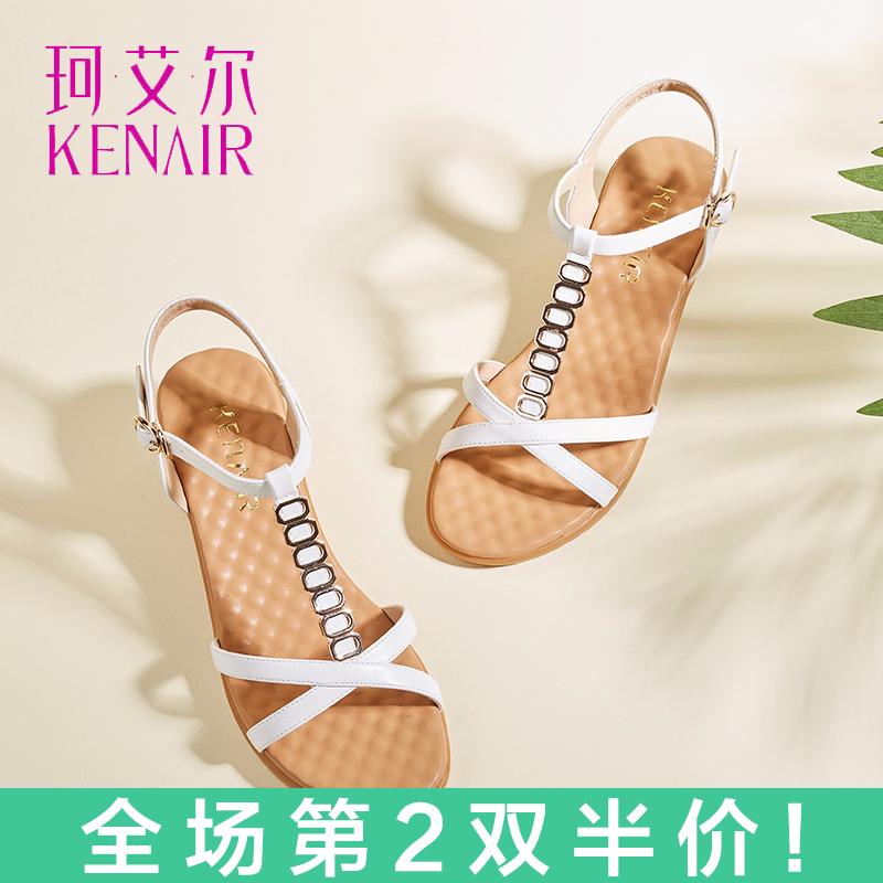 夏季后空百搭女中空涼鞋 中跟坡跟意爾康涼鞋