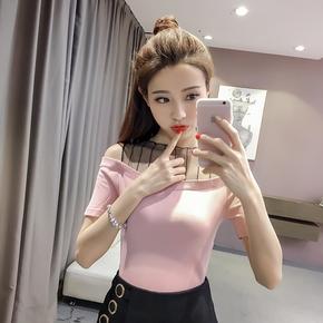 2017夏装新款一字领t恤女学生短袖修身上衣网纱拼接针织打底衫