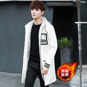 中长款风衣男士加绒修身大衣韩版青少年秋冬季学生加厚连帽外套潮