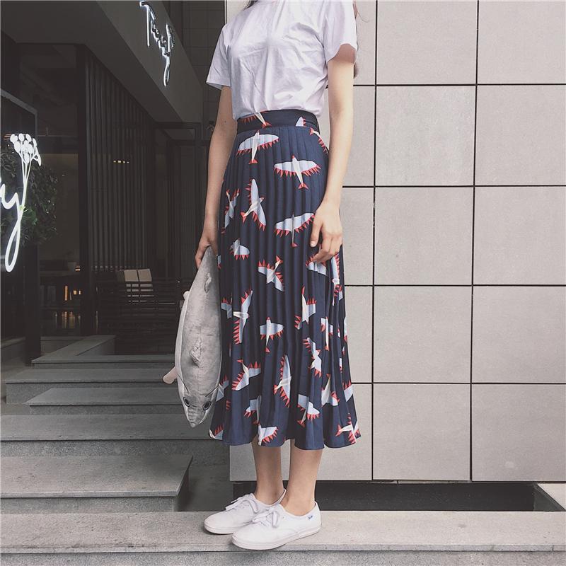 韩风1m舞蹈工作室chic风飞机印花松紧腰半身裙显瘦大裙摆百褶裙
