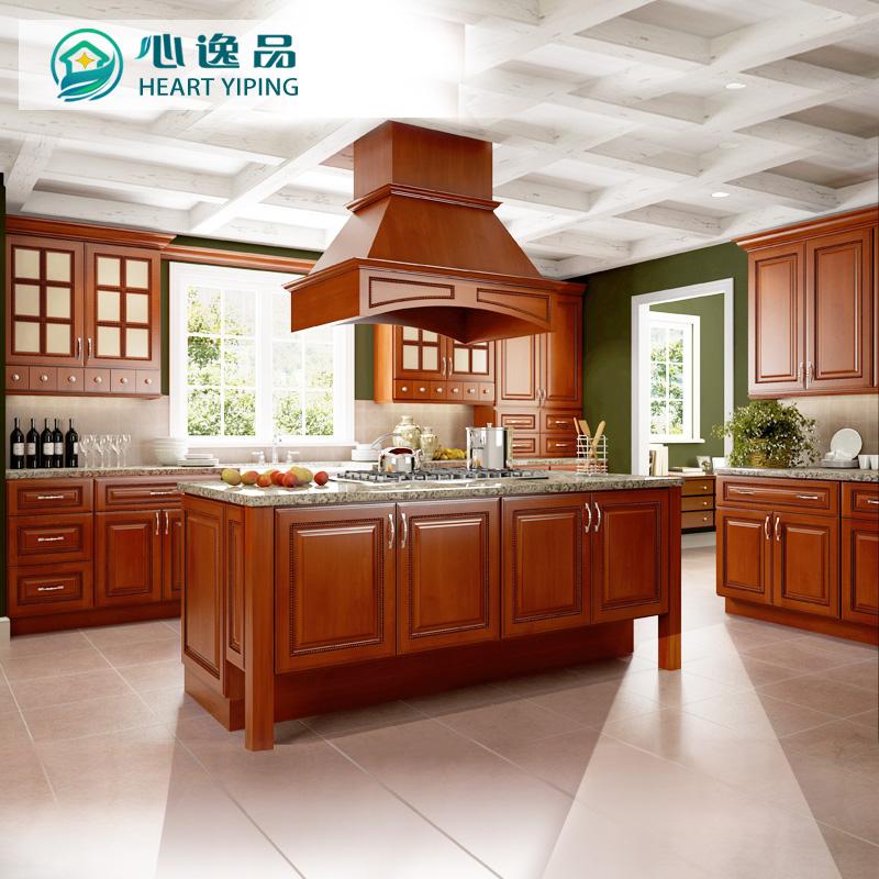 成都实木橱柜定做 欧式整体厨房中岛橱柜定制