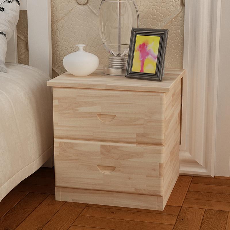 创意单双抽简易实木床头柜田园松木收纳柜全实木地柜