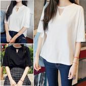 纯色镂空学生半袖 上衣 姐妹装 新款 T恤女宽松显瘦大码 短袖 夏季韩版