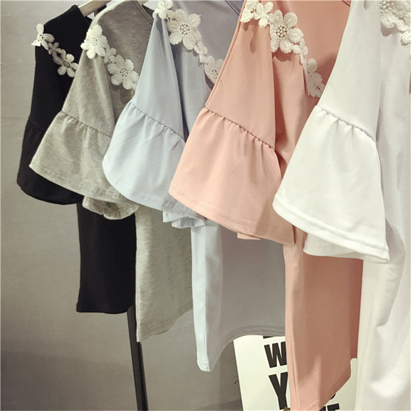 宽松半袖衣服韩版百搭小清新夏装学生喇叭短袖