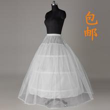 新娘齐地婚纱裙撑三钢圈一层纱有骨硬底衬蓬蓬花边鱼骨撑裙结婚纱