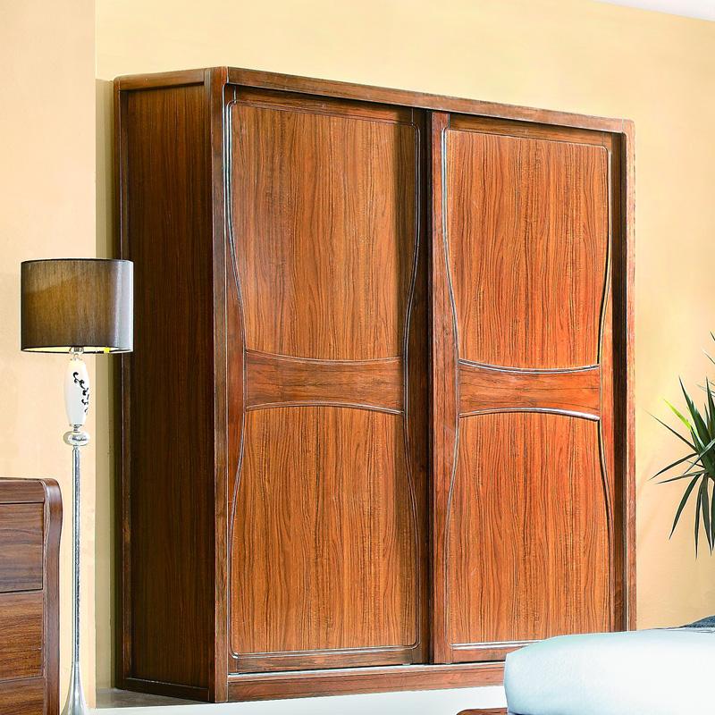 乌金木色实木衣柜 水曲柳趟门衣橱 推拉门储物柜 卧室简约家具