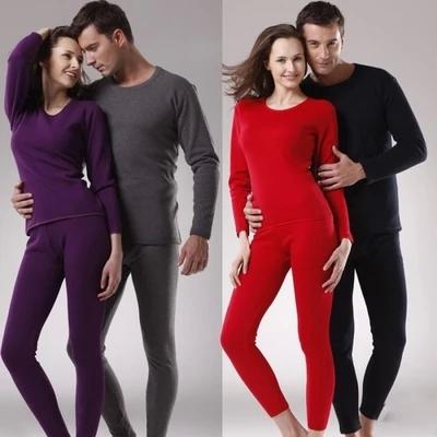 情侣男女士不倒绒内衣加厚加绒保暖纯棉套装秋冬打底外穿居家睡衣