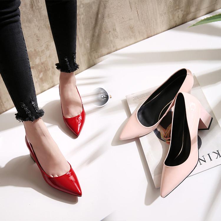 漆皮高跟鞋粗跟单鞋真皮女式尖头通勤工作鞋百搭简约四季鞋皮鞋潮