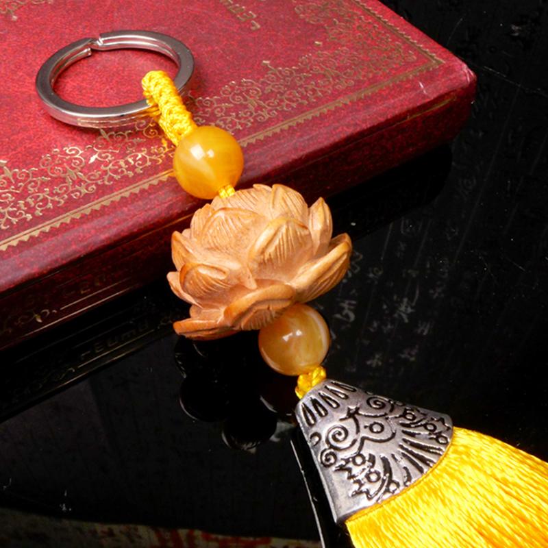 龙义 桃木开光莲花钥匙扣木雕随身包挂装饰品开运转运配饰2050461