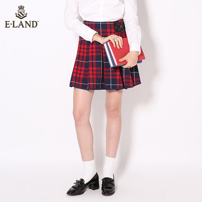 ELAND秋冬学院风格纹A字短裙女EEWH64951M