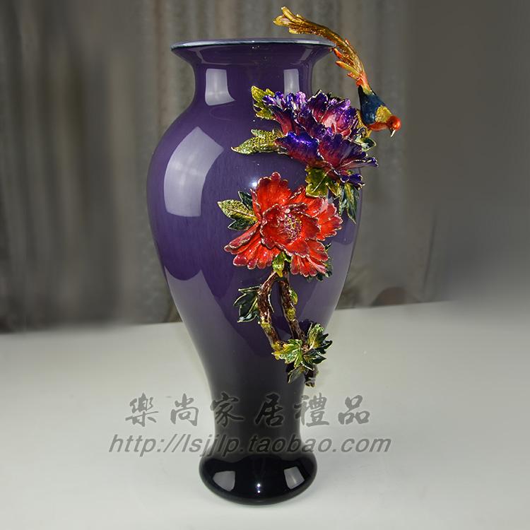 彩琉璃花瓶客厅摆件水晶玻璃花插插花欧式装饰创意