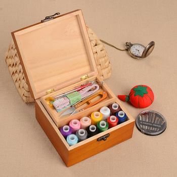 百宝箱实木针线盒复古风针线套装