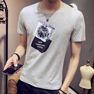 夏季男士短袖T恤圆领纯棉体恤打底衫韩版半袖上衣青少年黑白潮