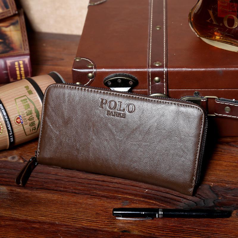 FANKEPOLO男士手拿包皮包商务长款钱包正品牛皮男包大容量零钱包