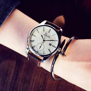 大表盘韩国中性潮流女表时尚皮带男表学生情侣超薄防水石英手表