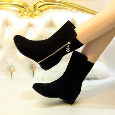 春秋磨砂真皮平底靴内增高短筒女靴子中跟侧拉链短靴休闲百搭单靴