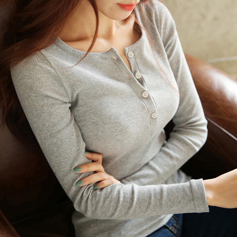 2015韩版秋冬修身螺纹棉圆领女式长袖t恤衫纽扣开胸打底衫潮
