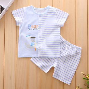 婴儿衣服男女宝宝夏装两件套夏季短袖短裤套装0-1岁纯棉小孩衣服