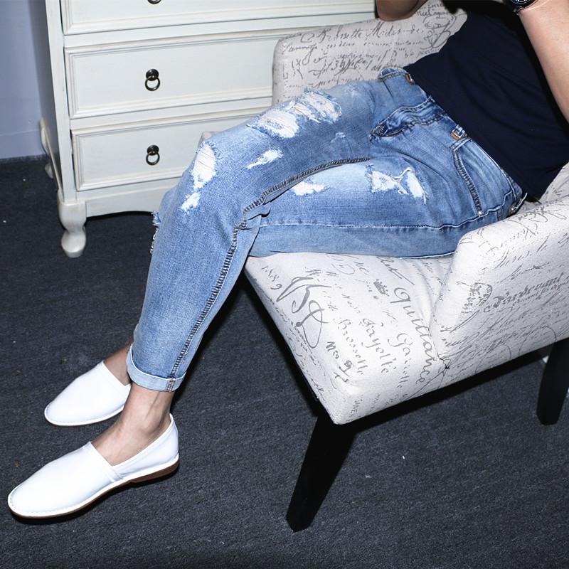 夏季新款韩版修身浅色破洞牛仔裤九分男小脚裤低腰水洗弹力乞丐裤
