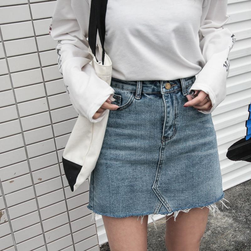 裤裙半身牛仔裙子女高腰拼接字裙女短裙毛边蓝色