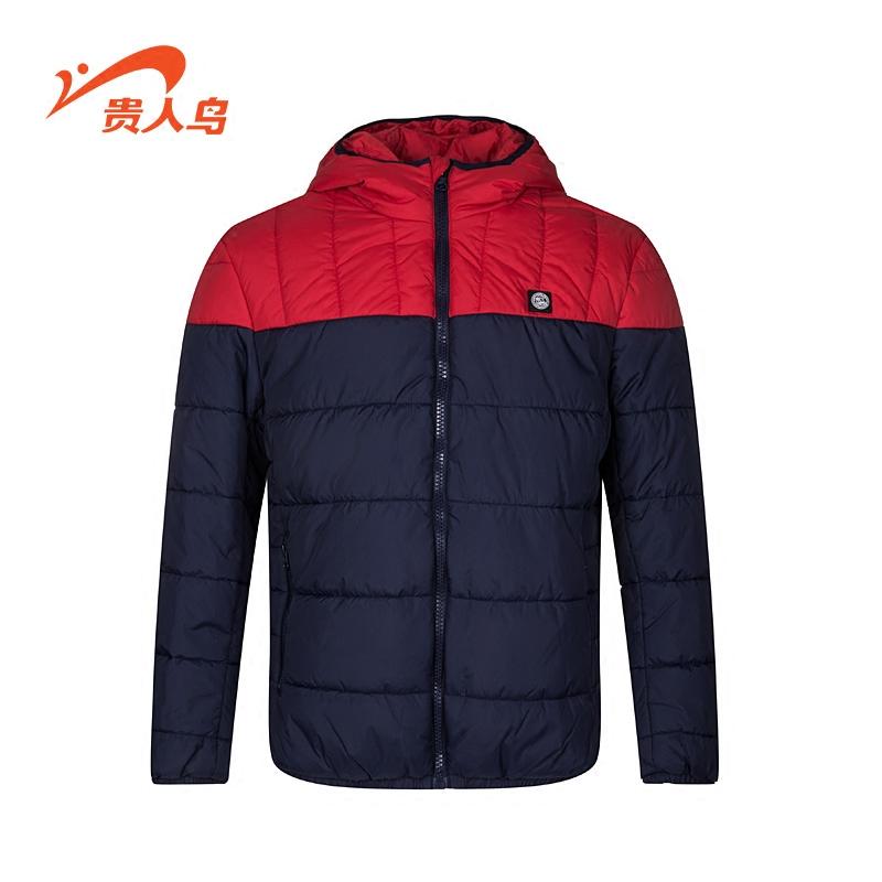 贵人鸟男装2016秋冬新款男子运动撞色时尚保暖棉衣