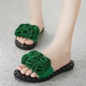 沙滩鞋 平跟女鞋 一字拖鞋 女时尚 夏季外穿平底韩版 花朵凉拖鞋 拖鞋