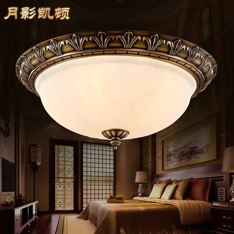 月影凯顿云石吸顶灯欧式全铜灯具美式卧室灯复古书房