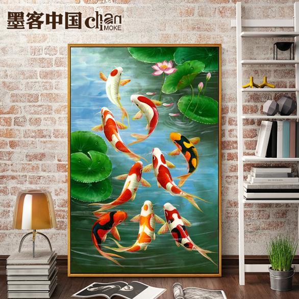 油画玄关九鱼图风水竖版欧式现代中式客厅鲤鱼装饰画