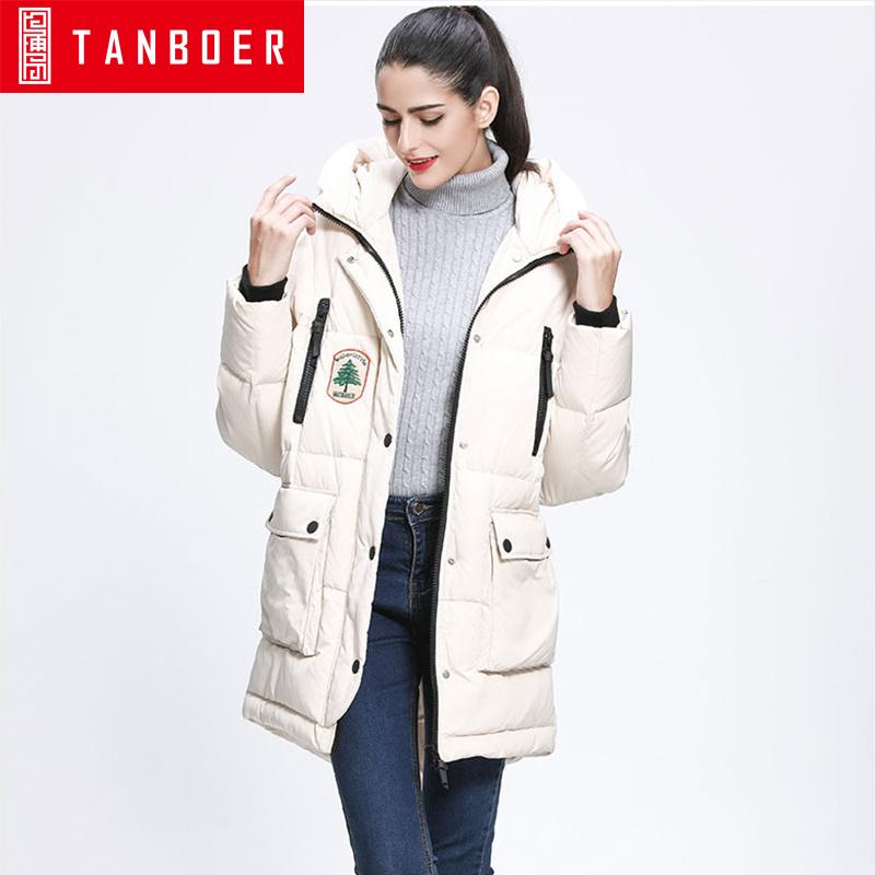 坦博尔中长款羽绒服女士新款韩版肩章印花大口袋连帽羽绒衣TB3630