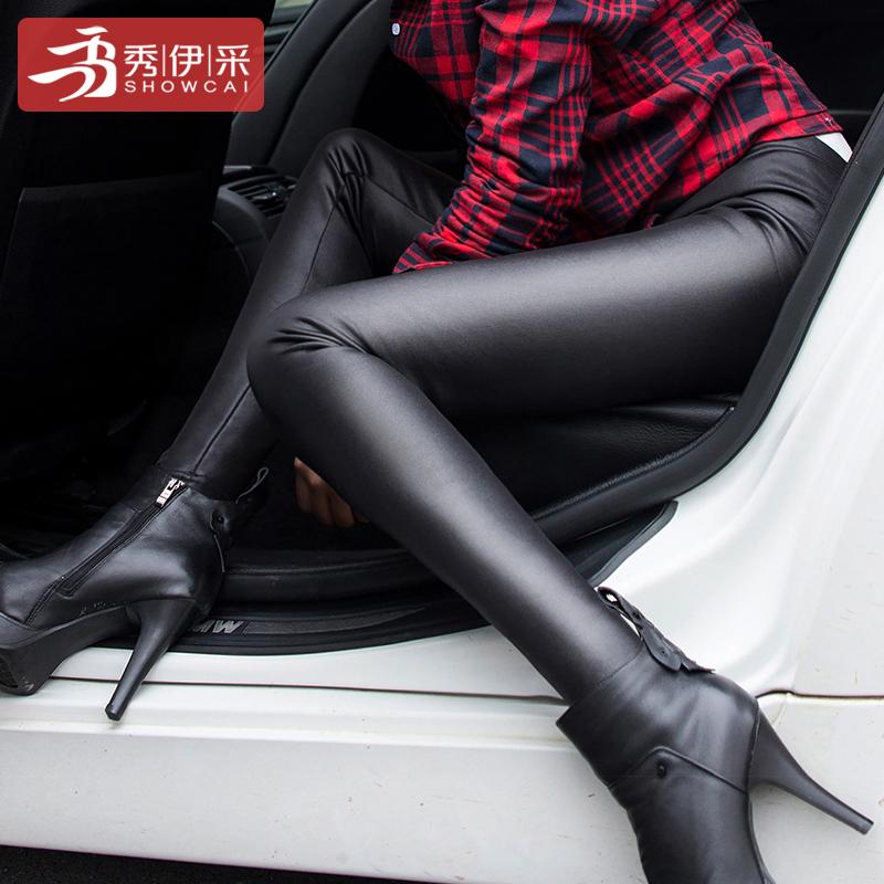 SHOWCAI 2017冬季新款棉外穿裤裙女装仿皮加厚女士加绒长裤打底裤