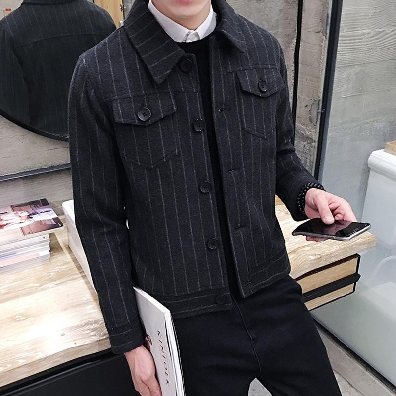 PKB秋冬新款男士条纹呢子外套冬季翻领短款羊毛呢夹克潮男装衣服