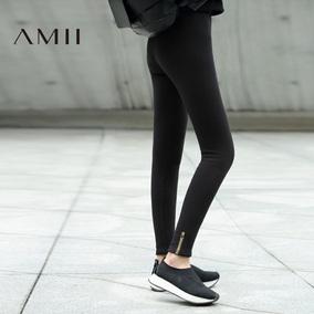 Amii[极简主义]2016冬季紧身弹力长裤外穿加厚加绒黑色打底裤女装