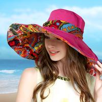 帽子女夏天出游遮阳帽防晒防紫外线可折叠沙滩大沿海边度假太阳帽