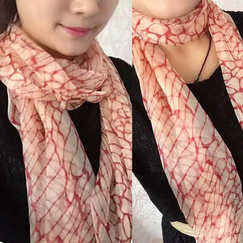 圍巾女士圍脖長條真絲防曬紗巾中年絲巾桑蠶絲