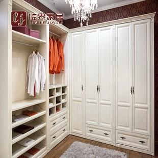重庆临界整体定制衣柜实木欧式红橡原木衣帽间法式白色描金定做