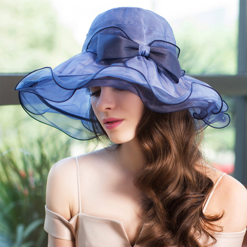 沙灘紫外線夏天真絲瑞蘇薇太陽帽帽子防曬遮陽帽