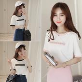 T恤女韩范学生上衣简约宽松显瘦半袖 体恤衫 圆领白色短袖 夏季韩版