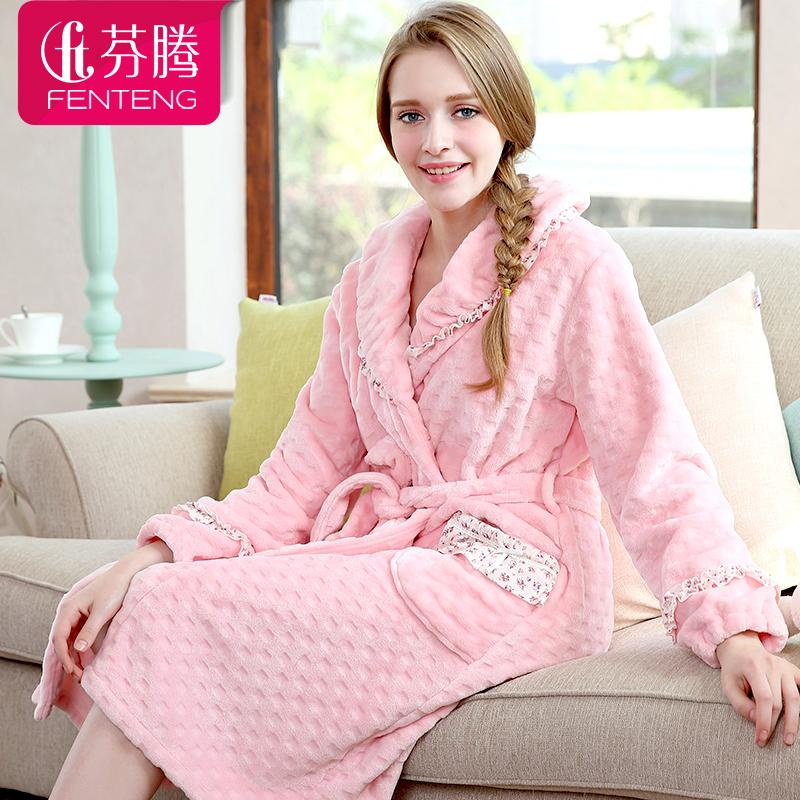 珊瑚绒睡袍女士可爱宽松韩版法兰绒家居服休闲睡衣